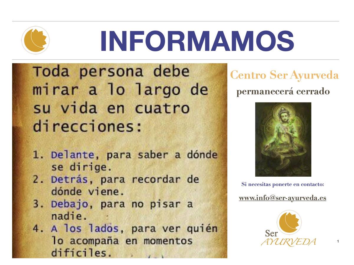 Ser Ayurveda Valladolid Cartel seguimos en casa Coronavirus mayo 2020